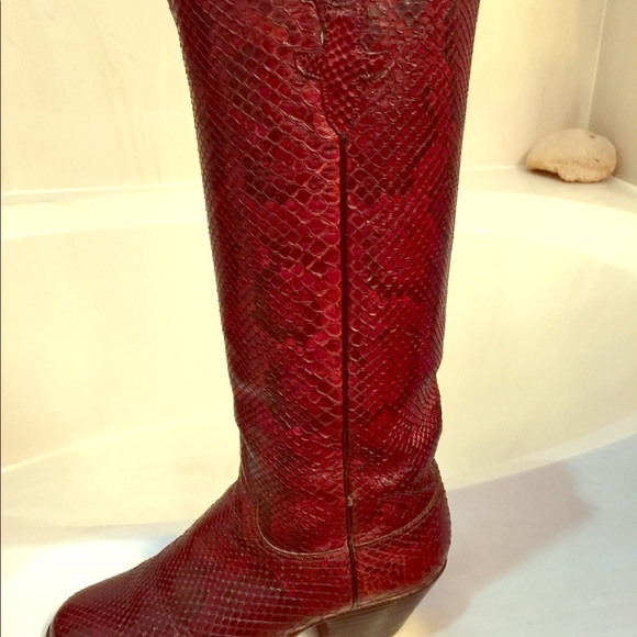 24482e45153 Lucchese - Python Ladies Burgandy Boots